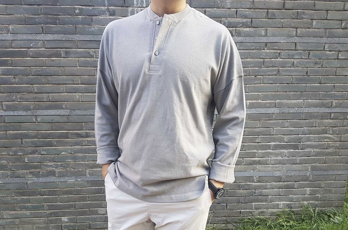 half button down tshirt