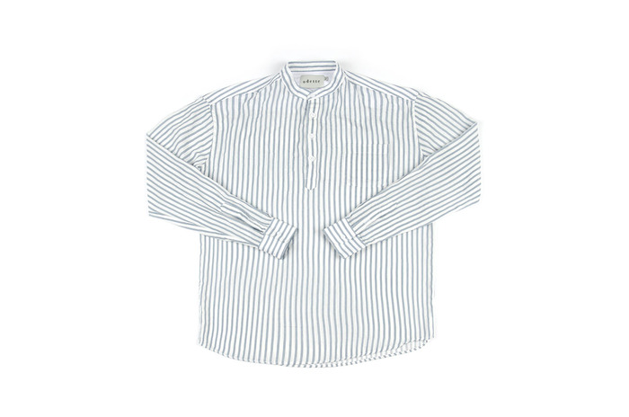 china collar stripe shirt for summer_skyblue